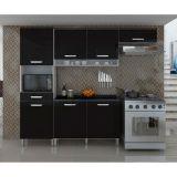 Cozinha Diva Compacta 7 PT - 1 GAV Branco e Preto Móveis Nesher