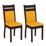 Conjunto 2 Cadeiras 4237X Tabaco Com Amarelo