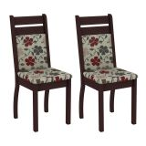 Conjunto 2 Cadeiras 4237X Tabaco Com Floral Hibiscos