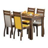 Conjunto Mesa E 4 Cadeiras Nelly Rustic E Amarelo