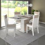 Conjunto Mesa de Jantar Elegance Extensível Branco/Vanila + 4 Cadeiras Branco/Vanila Suede - Madesa