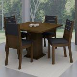 Conjunto Mesa de Jantar Vega Imbuia + 4 Cadeiras Imbuia Courino Preto - Madesa