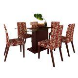 Conjunto Mesa e 6 Cadeiras Olivenza Floral Vermelho