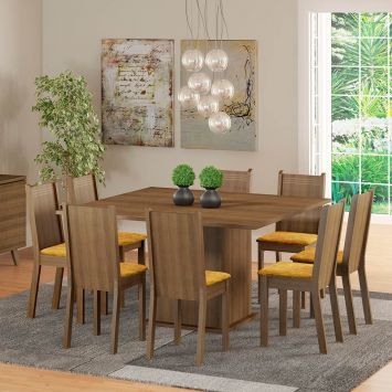 Conjunto de Mesa Clarice com 8 Cadeiras Rustic Com Assento Tecido Palha Madesa CLARICE