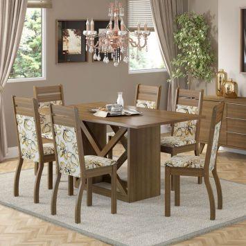 Conjunto de Mesa Retangular com 6 Cadeiras Maísa Rústico Bege Madesa Maísa