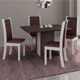 Conjunto de Mesa Retangular e 4 Cadeiras Carvalho & Branco Madesa
