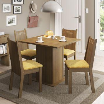Conjunto de Mesa com 4 Cadeiras Kate Rustic Com Assento Tecido Palha Madesa KATE