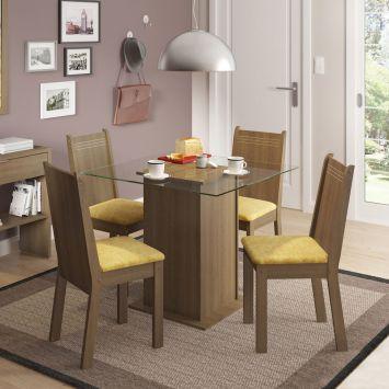 Conjunto de Mesa com 4 Cadeiras Lucy Rustic Com Assento Tecido Palha Madesa LUCY