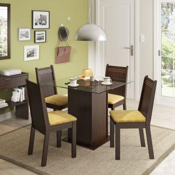 Conjunto de Mesa com 4 Cadeiras Lucy Tabaco Com Assento Tecido Palha Madesa LUCY
