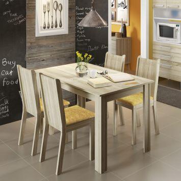 Conjunto de Mesa com 4 Cadeiras Rosie Acacia e Tecido Palha Madesa ROSIE