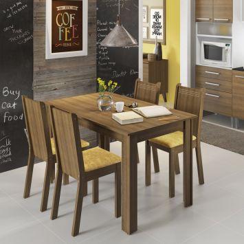 Conjunto de Mesa com 4 Cadeiras Rosie Rustic e Tecido Palha Madesa ROSIE