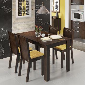Conjunto de Mesa com 4 Cadeiras Rosie Tabaco e Tecido Palha Madesa ROSIE