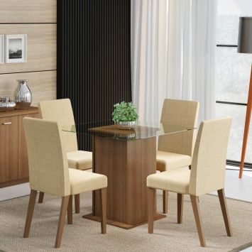 Conjunto de Mesa com 4 Cadeiras Tais Rustic Com Tecido Saara Madesa Tais