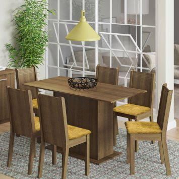 Conjunto de Mesa com 6 Cadeiras Celeny Rustic Com Tecido Palha Madesa CELENY
