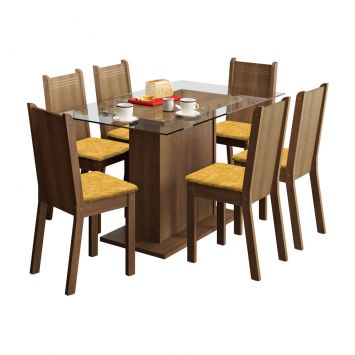 Conjunto de Mesa com 6 Cadeiras Gales Rustic e Tecido Palha Madesa GALES