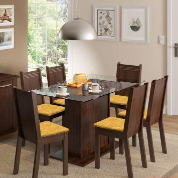Conjunto de Mesa com 6 Cadeiras Gales Tabaco e Tecido Palha Madesa GALES