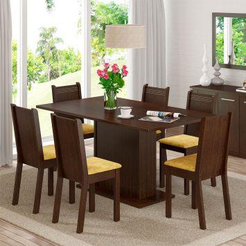 Conjunto de Mesa com 6 Cadeiras Megan Tabaco Com Assento Tecido Palha Madesa MEGAN