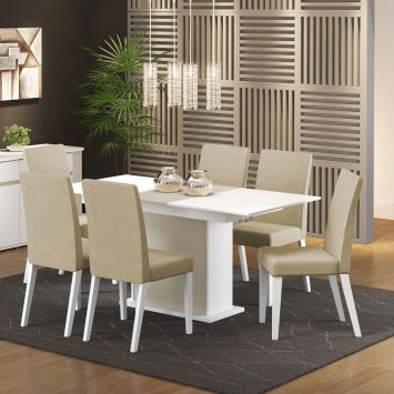 Conjunto de Mesa com 6 Elenice Vanilla Com Branco e Tecido Saara Madesa ELENICE