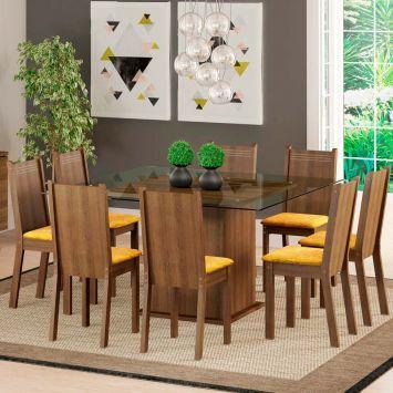 Conjunto de Mesa com 8 Cadeiras Camila Rustic Com Assento Tecido Palha Madesa CAMILA