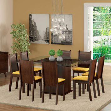 Conjunto de Mesa com 8 Cadeiras Camila Tabaco Com Assento Tecido Palha Madesa CAMILA