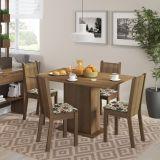 Conjunto de Mesa e 4 Cadeiras Lexy Rustic e Floral Hibiscos