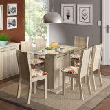 Conjunto de Mesa e 6 Cadeiras Gales Acacia e Floral Hibiscos