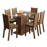 Conjunto de Mesa e 6 Cadeiras Gales Rustic e Bege Marrom