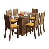 Conjunto de Mesa e 6 Cadeiras Gales Rustic e Tecido Palha