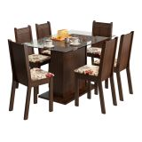 Conjunto de Mesa e 6 Cadeiras Gales Tabaco e Floral Hibiscos
