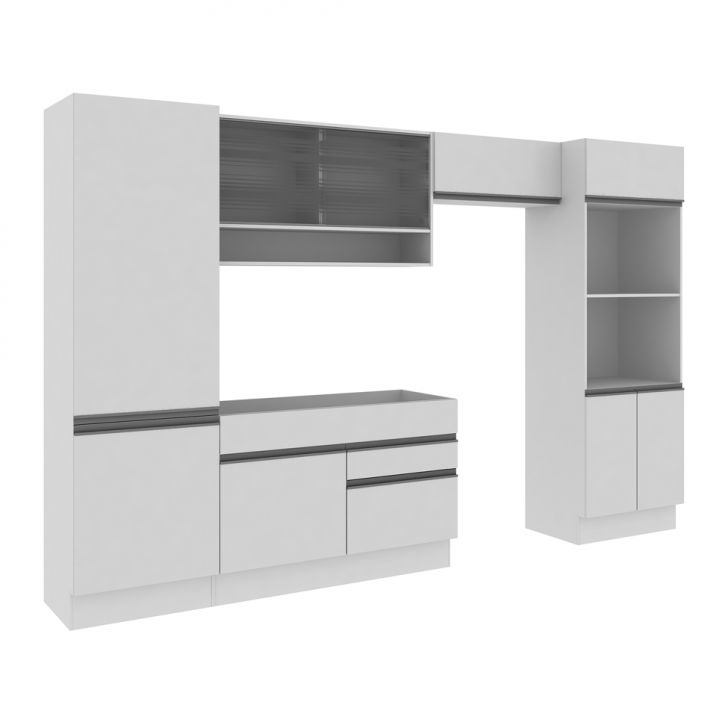 Cozinha Compacta Luana 5 Peças Glamy Com Vidro 11 Portas E 2 Gavetas Branco e  Branco DESCONTO DE R$: 1.000,00 (32,26% OFF) - OFERTA MOBLY