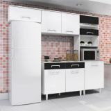 Cozinha Compacta Lorena 5 PT Branco Com Preto Madine