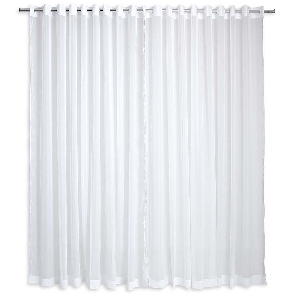 Cortina para quarto ou sala com ilh s 200x180 voil branca for Tipos de ganchos para cortinas