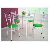 Jogo de Mesa Tulipa com 04 Cadeiras - Branco/Verde