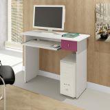 Mesa De Computador Dalian Plus Branco e Lilás Alto Brilho Mavaular