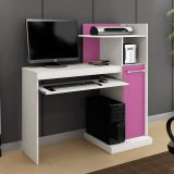 Mesa De Computador Verona Branco e Lilás Alto Brilho Mavaular