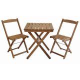 Kit Naipe com Mesa e 2 Cadeiras Dobráveis Mestra - Stain Nogueira