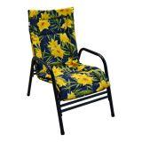 Cadeira Fixa Mônaco Preto com Floral