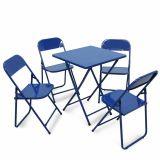 Conjunto Metalmix Asia 1 mesa quadrada e 4 cadeiras Azul