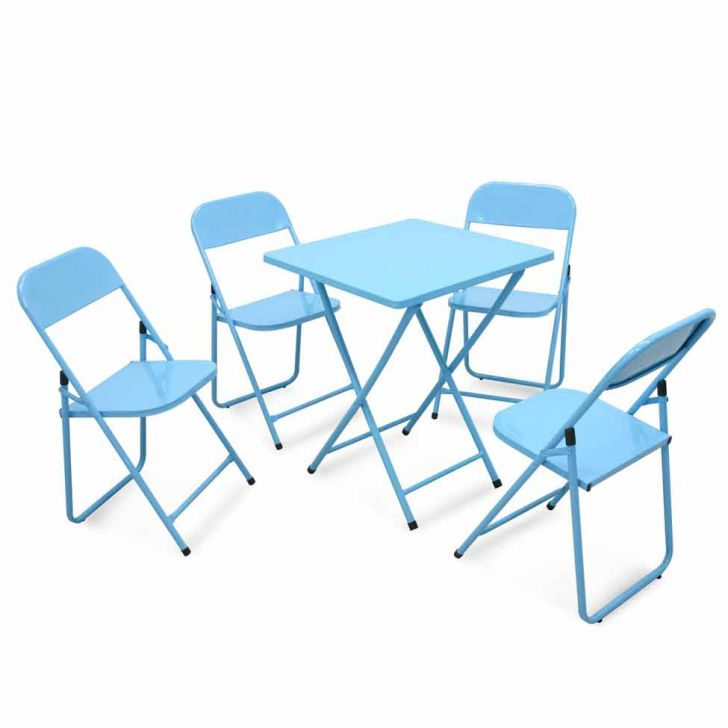 Conjunto Metalmix Asia 1 mesa quadrada e 4 cadeiras Azul Claro