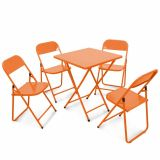 Conjunto Metalmix Asia 1 mesa quadrada e 4 cadeiras Laranja