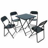 Conjunto Metalmix Asia 1 mesa quadrada e 4 cadeiras Preto