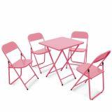 Conjunto Metalmix Asia 1 mesa quadrada e 4 cadeiras Rosa