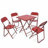 Conjunto Metalmix Asia 1 mesa quadrada e 4 cadeiras Vermelho