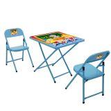 Conjunto de Mesa e 2 Cadeiras Sapeca Azul Escola | Metalmix