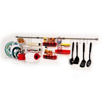 Suporte Para Cozinha Com Porta Condimentos Vermelho Metaltru Kit Cozinha