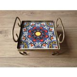 Bandeja Iron Oneblock Mandala Purple & red