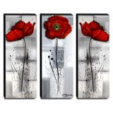 Trio de Quadros Decorativos Canvas Papoulas 40x105cm cada