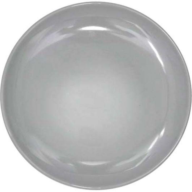 Prato De Sobremesa Bicolor Cinza Claro 18 Cm