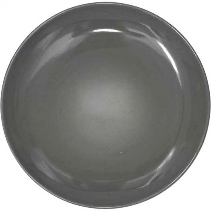 Prato De Sobremesa Bicolor Cinza Escuro 19 Cm