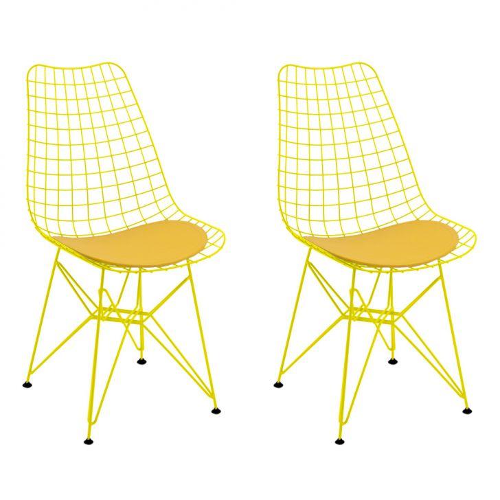 Conjunto 2 Cadeiras CM0006 Pintada Amarela Corano Amarelo